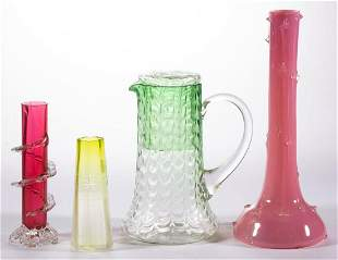 ASSORTED VICTORIAN GLASS ARTICLES, LOT OF FIVE