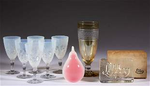 ASSORTED LIBBEY GLASS ARTICLES, LOT OF NINE