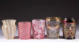 ASSORTED GLASS TUMBLERS, LOT OF FIVE