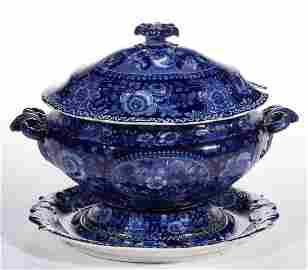 ENGLISH STAFFORDSHIRE PEARL WARE BLUE TRANSFER-PRINTED