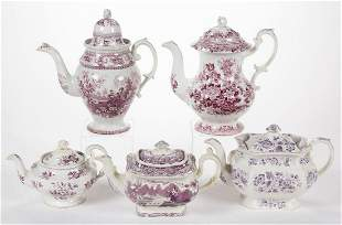 ENGLISH STAFFORDSHIRE TRANSFER-PRINTED CERAMIC TEA AND