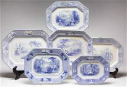 ENGLISH STAFFORDSHIRE BLUE TRANSFER-PRINTED ROMANTIC