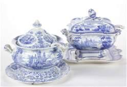 ENGLISH STAFFORDSHIRE BLUE TRANSFER-PRINTED ROMANTIC