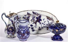 ENGLISH FLOW BLUE GILT-DECORATED CERAMIC ARTICLES, LOT
