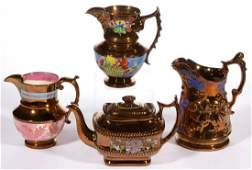 ENGLISH COPPER LUSTRE CERAMIC TABLE ARTICLES, LOT OF