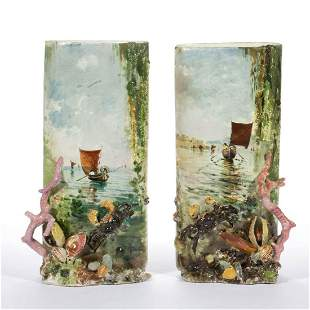 FRENCH MAJOLICA CERAMIC VASE PAIR