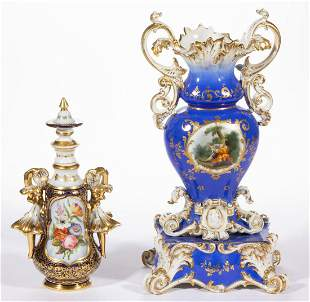 FRENCH OLD PARIS HAND-PAINTED PORCELAIN ARTICLES, LOT