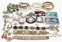 MEXICAN AND OTHER SILVER / METAL JEWELRY, LOT OF 51