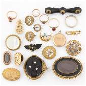 VICTORIAN / ANTIQUE MOURNING AND OTHER JEWELRY, LOT OF
