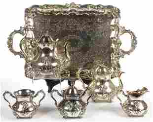 HOMAN SILVER PLATE CO. SILVER-PLATED FIVE-PIECE COFFEE