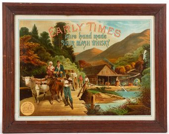 RARE EARLY TIMES WHISKEY PAPER ADVERTISING SIGN