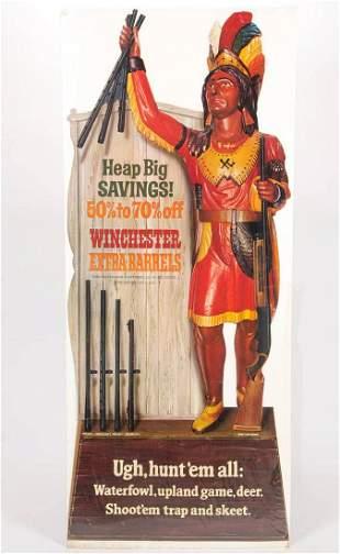 VINTAGE WINCHESTER DIE CUT CARDBOARD ADVERTISING SIGN /