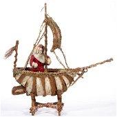 RARE ANTIQUE GERMAN BELSNICKEL / SANTA CLAUS AND SHIP