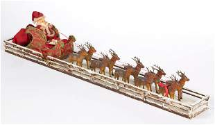 VINTAGE SANTA CLAUS AND SLEIGH CHRISTMAS DECORATION