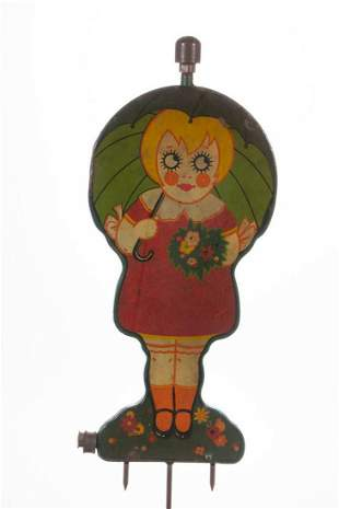 "VINTAGE FIGURAL ""UMBRELLA GIRL"" METAL LAWN SPRINKLER"