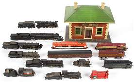 ASSORTED MODEL TRAIN ENGINES AND CARS, LOT OF 16