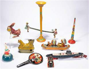 ASSORTED VINTAGE TIN VEHICLE AND NOVELTY TOYS, LOT OF
