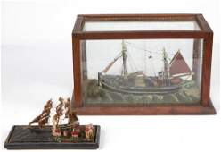 ANTIQUE GERMAN WOODEN SHIP MODELS, LOT OF TWO