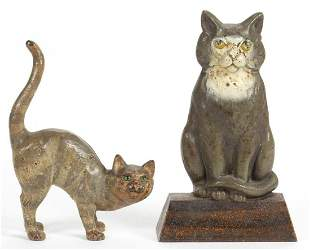 CAST-IRON FIGURAL CAT DOORSTOPS, LOT OF TWO