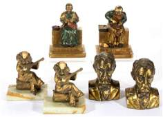 VINTAGE FIGURAL BOOKENDS LOT OF SIX