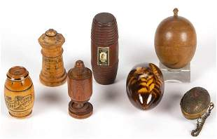 ASSORTED WOOD AND METAL SEWING / NEEDLEWORK CONTAINERS,