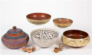 PERUVIAN SHIPIBO AND OTHER POTTERY VESSELS, LOT OF TEN