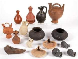 SOUTH AMERICAN AND OTHER POTTERY VESSELS, LOT OF 16
