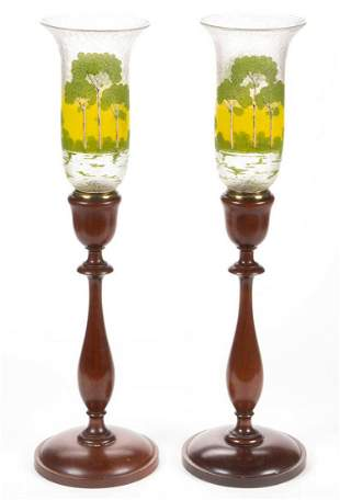 PAIRPOINT ATTRIBUTED REVERSE-PAINTED GLASS PAIR OF
