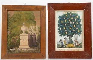 CURRIER & IVES RELIGIOUS AND MOURNING PRINTS, LOT OF