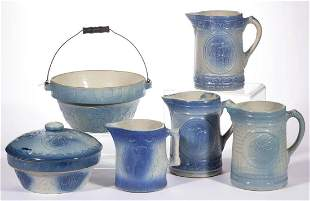 AMERICAN BLUE AND WHITE SALT-GLAZED STONEWARE TABLE