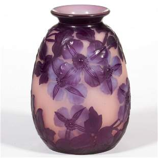 GALLE BLOWN-MOLDED CLEMATIS CAMEO ART GLASS VASE