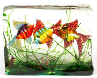 MURANO CENEDESE LAMPWORK SEASCAPE ART GLASS SCULPTURE