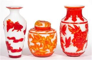 CHINESE PEKING GLASS ARTICLES, LOT OF THREE