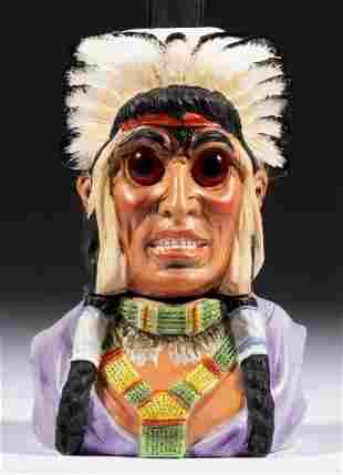 BISQUE FIGURAL NATIVE AMERICAN CHIEF / INDIAN MINIATURE
