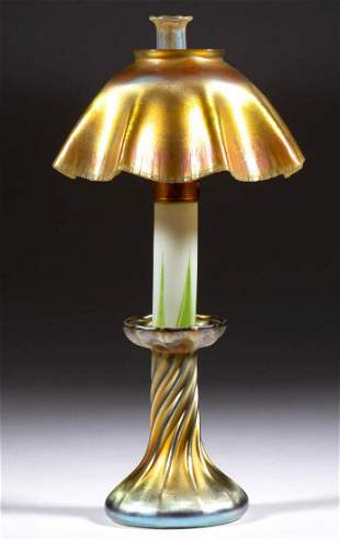 SIGNED TIFFANY FAVRILE ART GLASS CANDLE LAMP