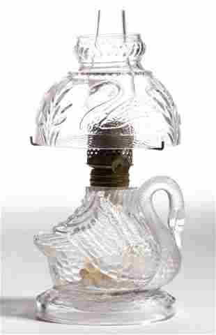FIGURAL GLASS SWAN MINIATURE LAMP