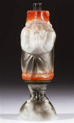 FIGURAL GLASS SANTA CLAUS MINIATURE LAMP