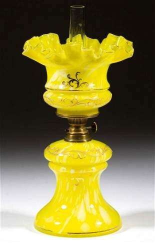 ENAMEL-DECORATED SPATTER GLASS MINIATURE LAMP