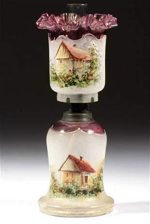 SCENIC DECORATED OVERSHOT GLASS MINIATURE LAMP
