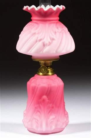 SWIRL AND LEAF EMBOSSED SATIN MINIATURE LAMP