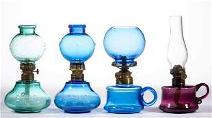 ASSORTED COLORED GLASS MINIATURE LAMPS, LOT OF FOUR