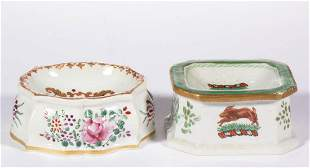 FRENCH PORCELAIN HAND-PAINTED OPEN SALTS, LOT OF TWO