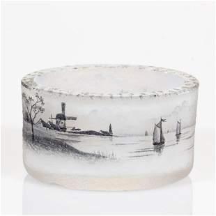 DAUM ENAMEL-DECORATED CAMEO ART GLASS OPEN SALT