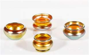 STEUBEN GOLD AURENE IRIDESCENT ART GLASS OPEN SALTS,