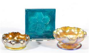TIFFANY FAVRILE GOLDEN IRIDESCENT ART GLASS OPEN SALTS,