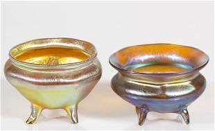 TIFFANY FAVRILE IRIDESCENT ART GLASS FOOTED OPEN SALTS,
