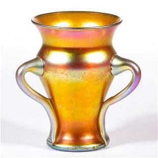 STEUBEN GOLD AURENE IRIDESCENT ART GLASS LOVING CUP