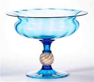 STEUBEN ATTRIBUTED PANEL-OPTIC CINTRA STEM ART GLASS