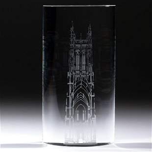 STEUBEN ACID-ETCHED ART GLASS SCULPTURE / PILLAR