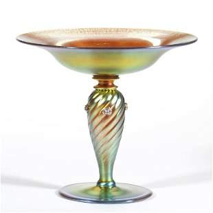 STEUBEN GOLD AURENE ART GLASS COMPOTE